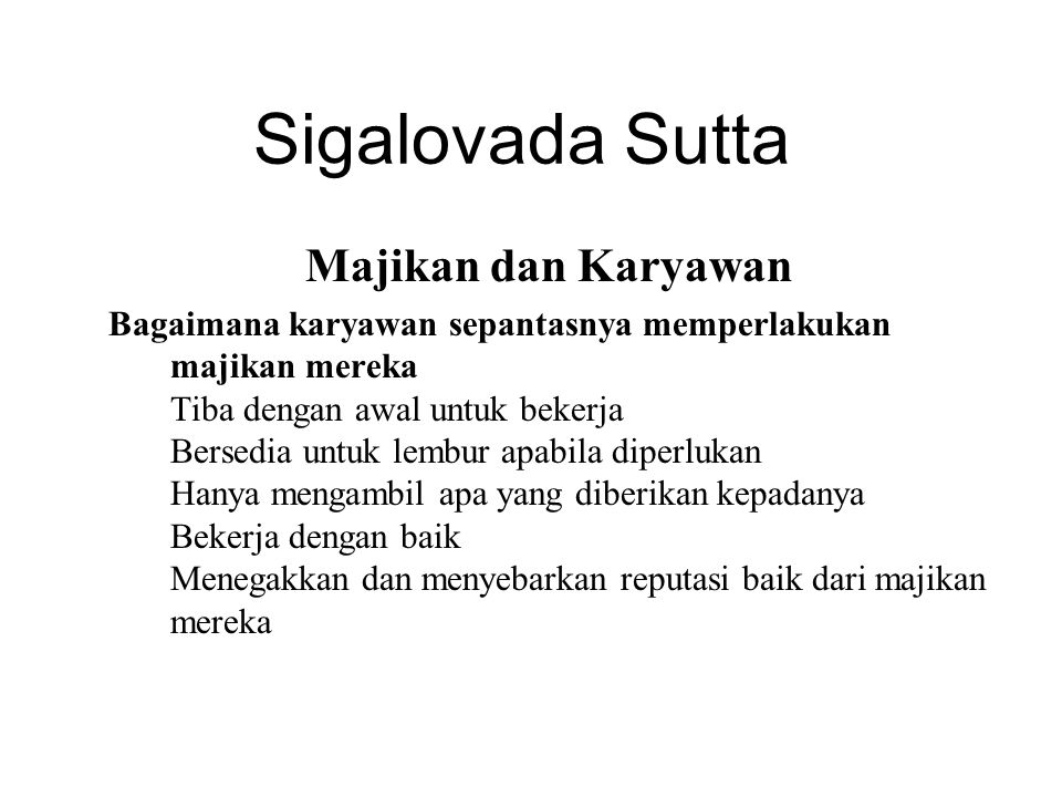 Sigalovada Sutta Majikan dan Karyawan