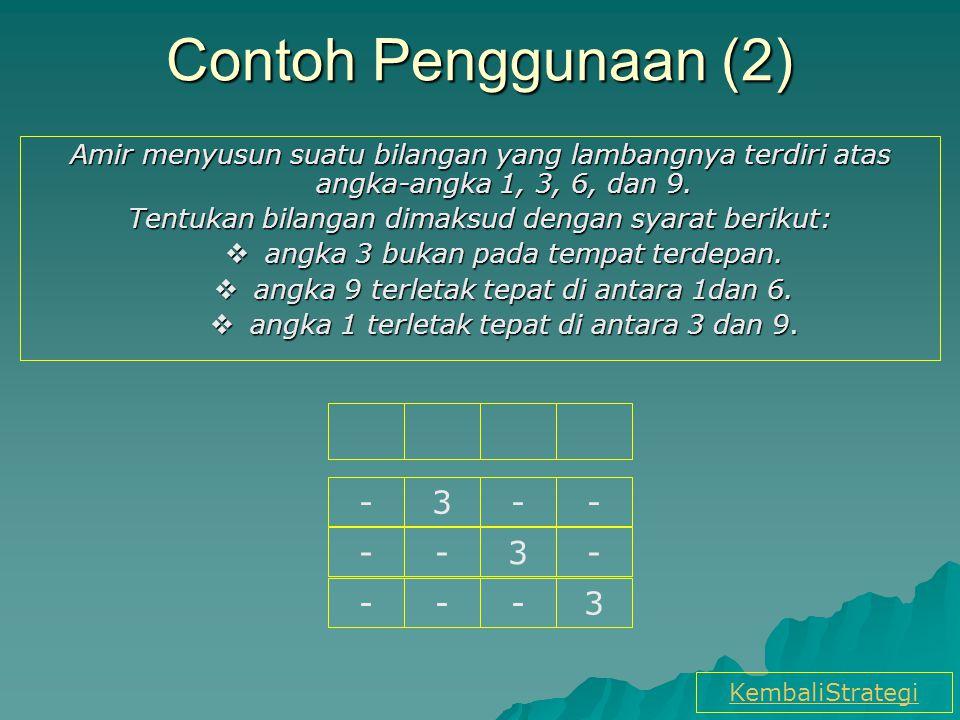 Contoh Penggunaan (2) Amir menyusun suatu bilangan yang lambangnya terdiri atas angka-angka 1, 3, 6, dan 9.