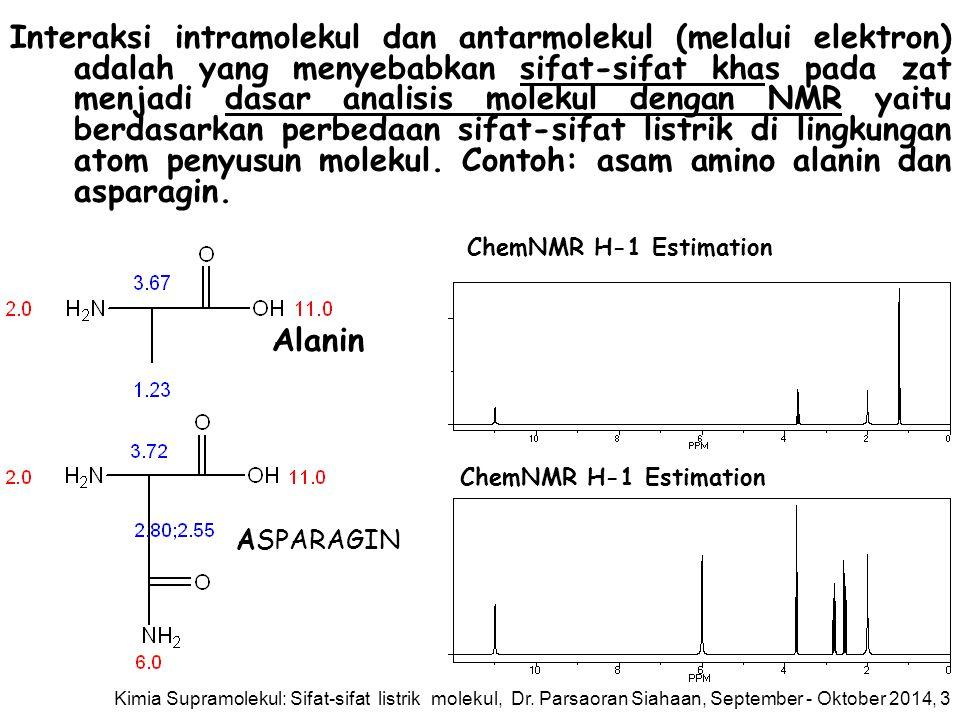 Interaksi intramolekul dan antarmolekul (melalui elektron) adalah yang menyebabkan sifat-sifat khas pada zat menjadi dasar analisis molekul dengan NMR yaitu berdasarkan perbedaan sifat-sifat listrik di lingkungan atom penyusun molekul. Contoh: asam amino alanin dan asparagin.