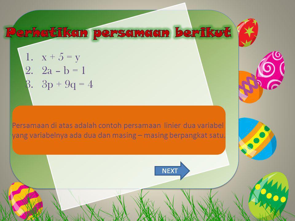KITE Layang-layang Perhatikan persamaan berikut x + 5 = y 2a – b = 1