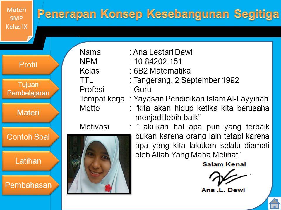 TTL : Tangerang, 2 September 1992 Profesi : Guru
