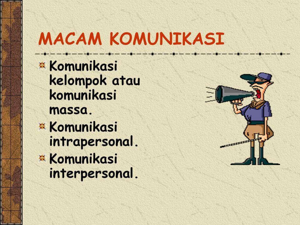 MACAM KOMUNIKASI Komunikasi kelompok atau komunikasi massa.