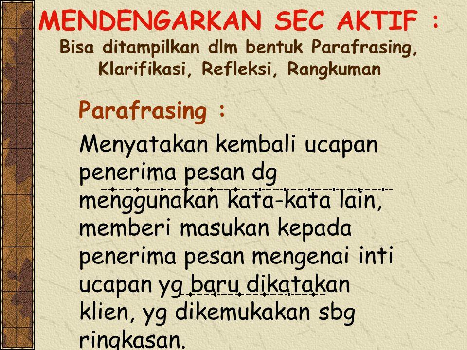MENDENGARKAN SEC AKTIF : Bisa ditampilkan dlm bentuk Parafrasing, Klarifikasi, Refleksi, Rangkuman