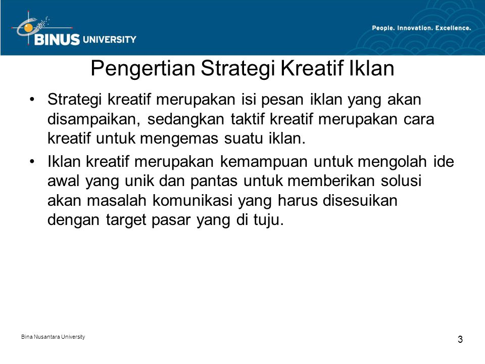 Pengertian Strategi Kreatif Iklan