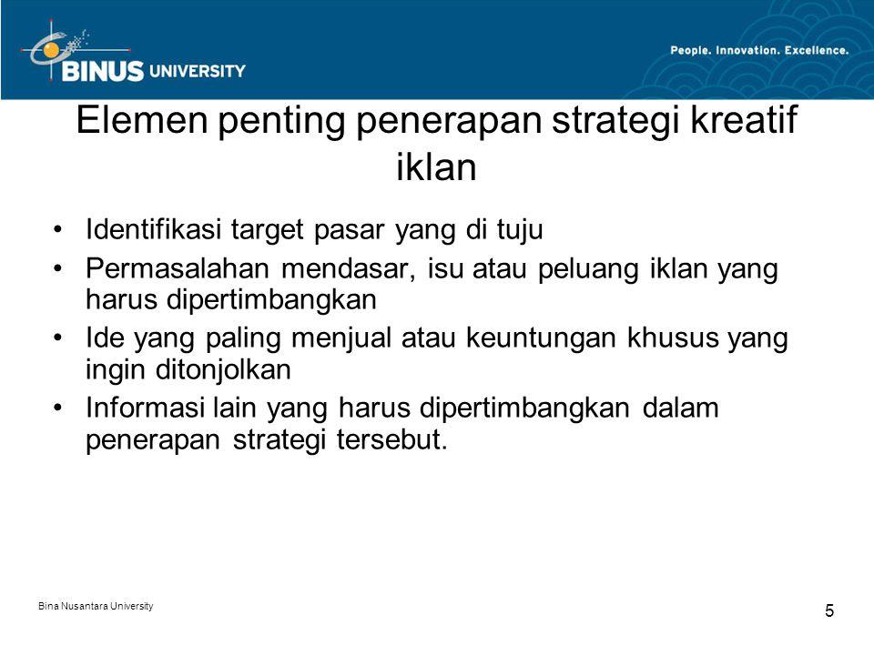 Elemen penting penerapan strategi kreatif iklan