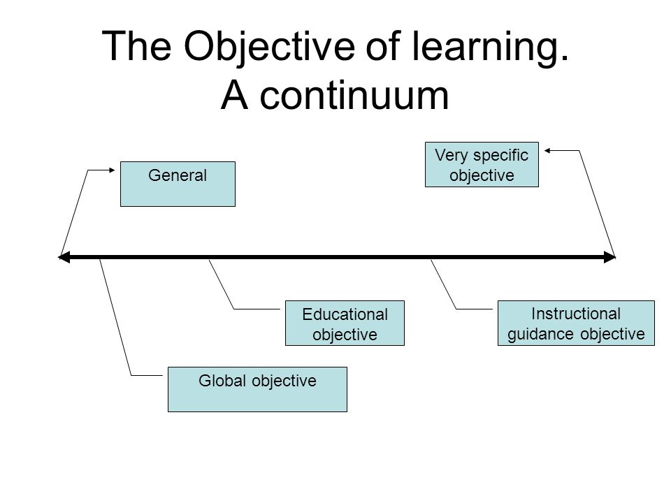 The Objective of learning. A continuum