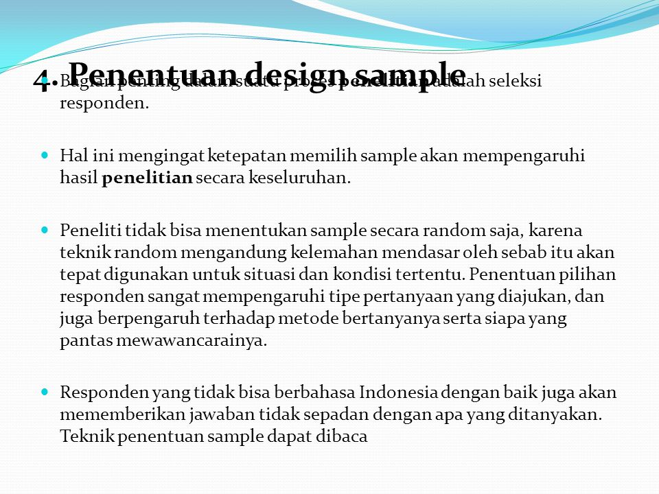 4. Penentuan design sample