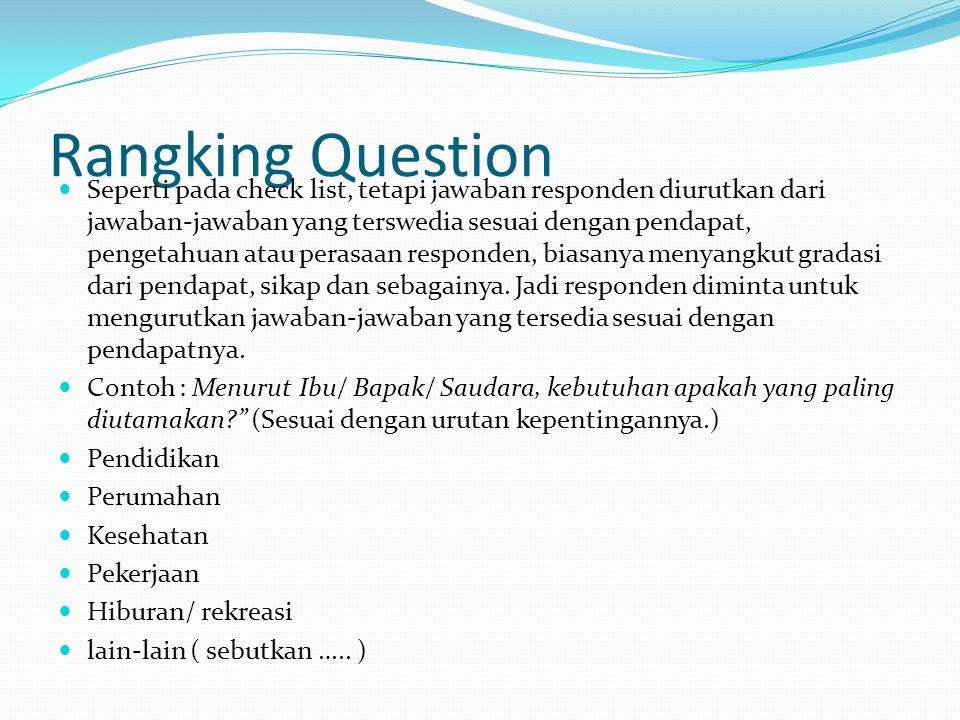Rangking Question
