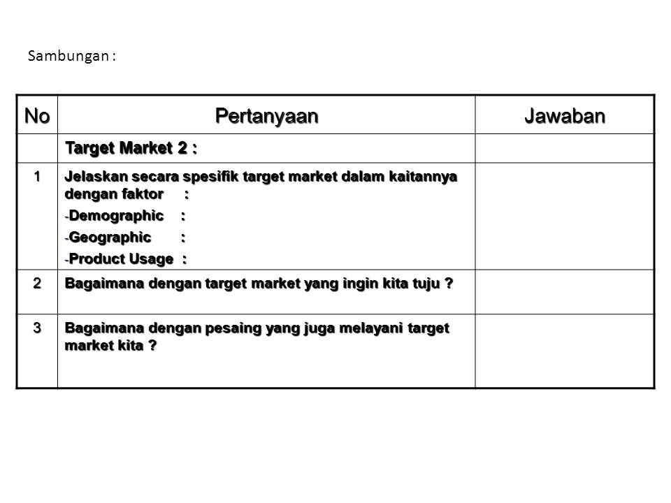 No Pertanyaan Jawaban Sambungan : Target Market 2 : 1