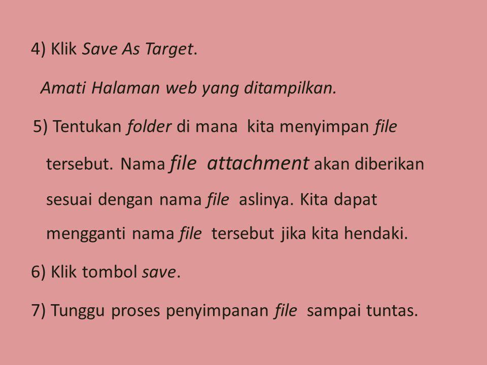 4) Klik Save As Target. Amati Halaman web yang ditampilkan.