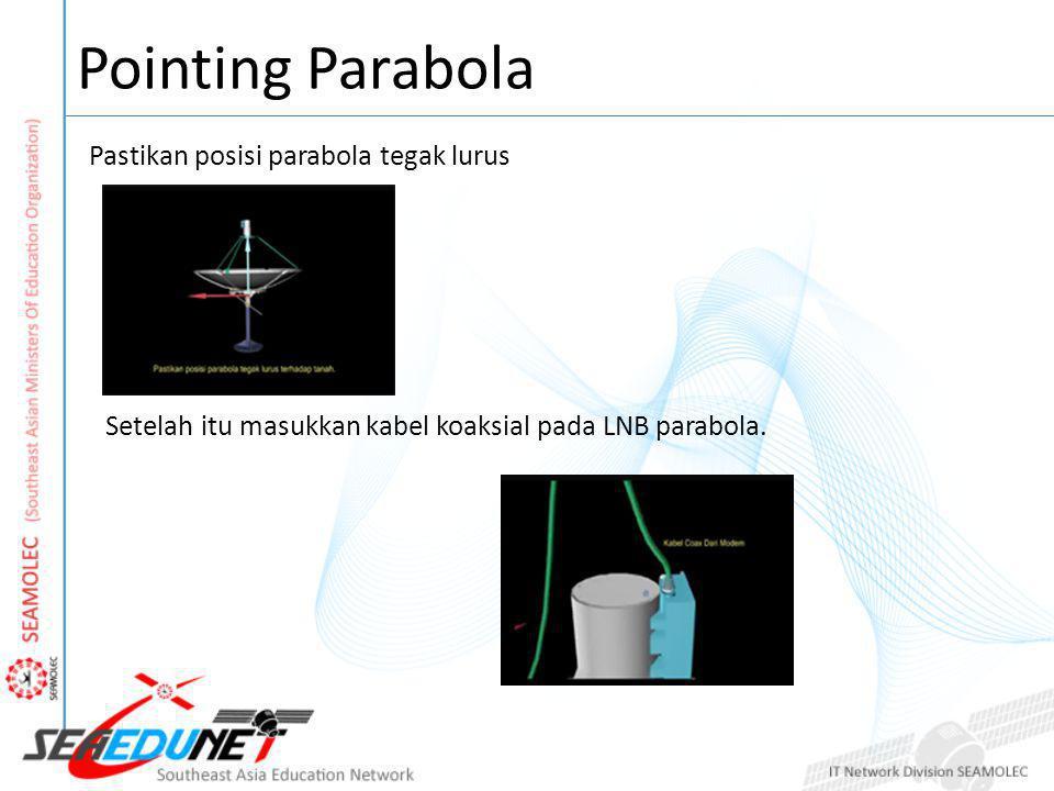 Pointing Parabola Pastikan posisi parabola tegak lurus