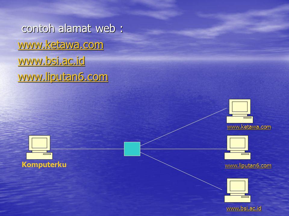 contoh alamat web : www.ketawa.com. www.bsi.ac.id. www.liputan6.com. www.ketawa.com. Komputerku.