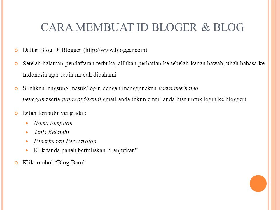 CARA MEMBUAT ID BLOGER & BLOG