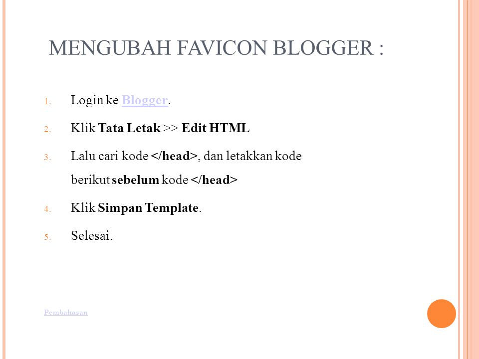 MENGUBAH FAVICON BLOGGER :