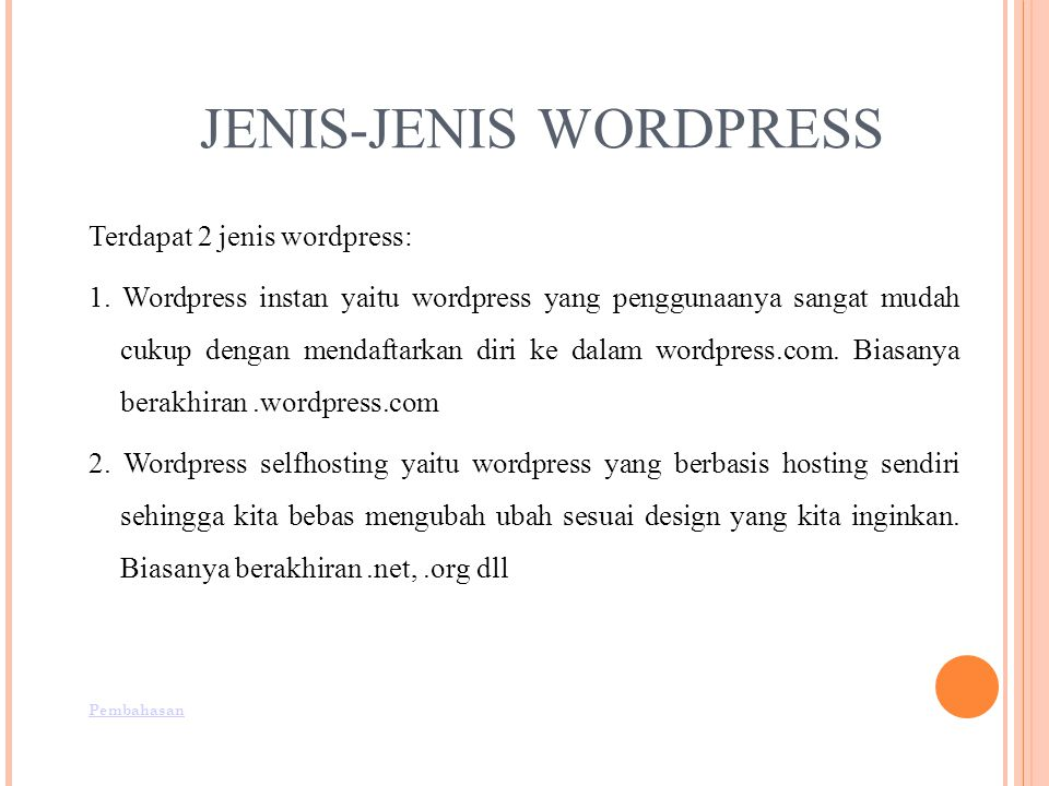JENIS-JENIS WORDPRESS