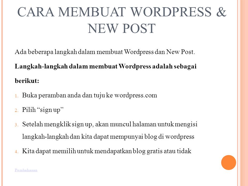 CARA MEMBUAT WORDPRESS & NEW POST
