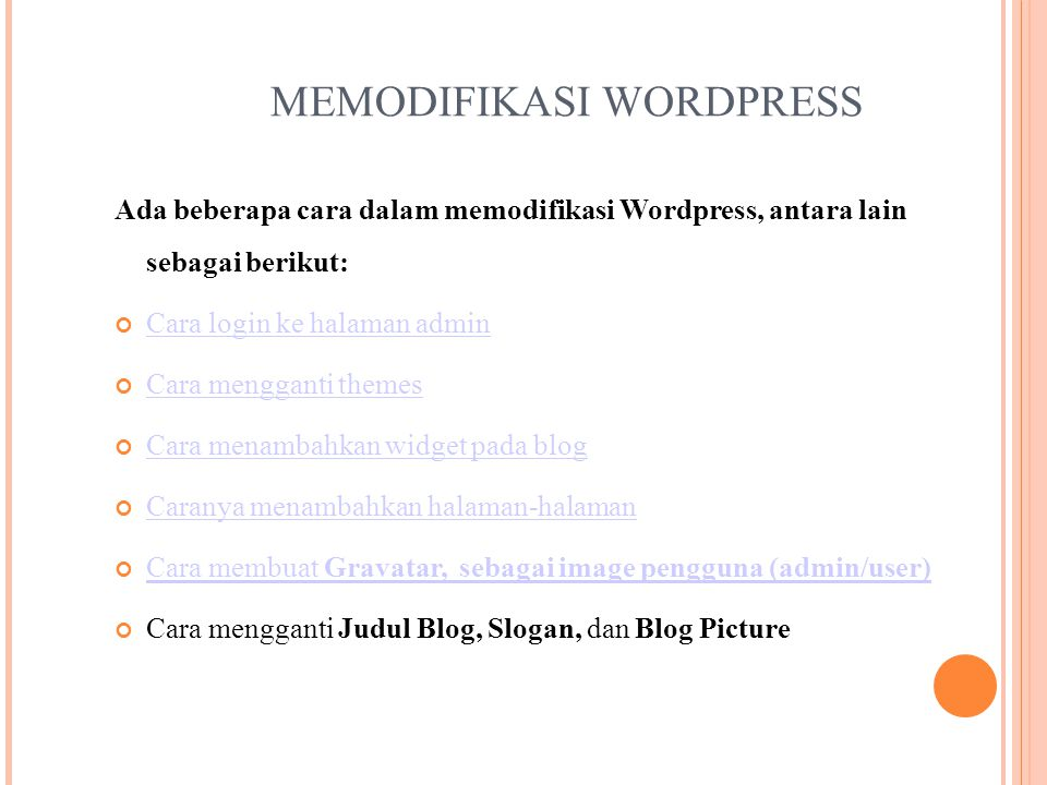MEMODIFIKASI WORDPRESS