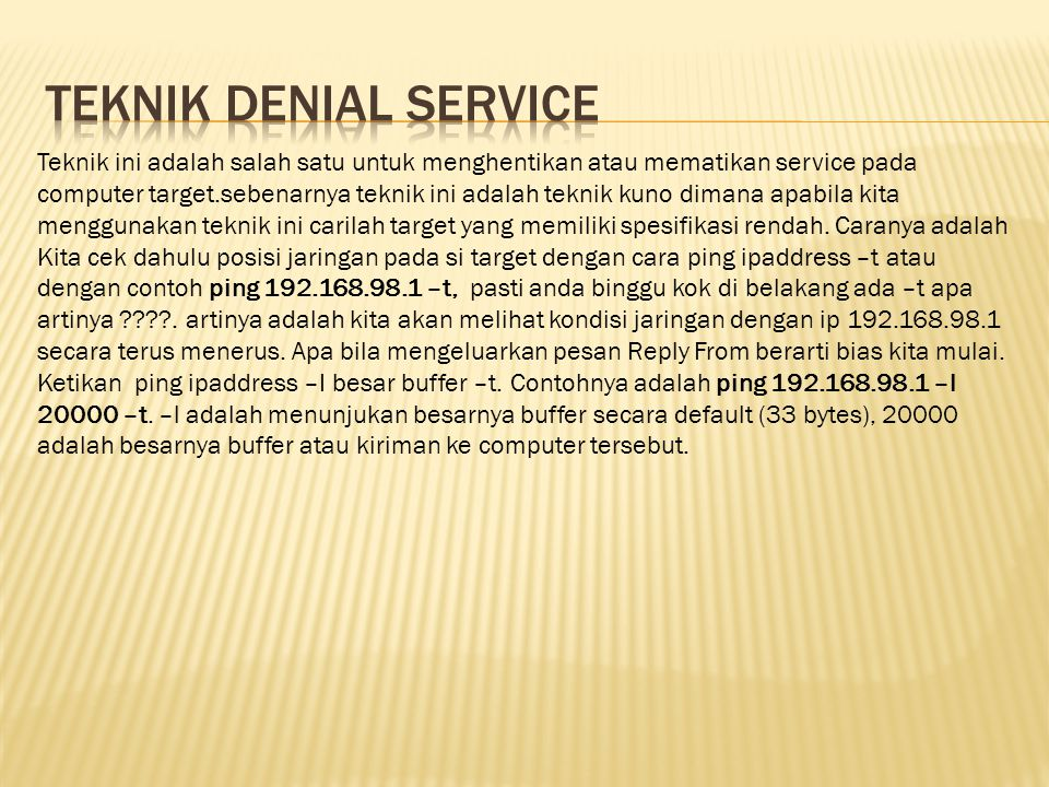 Teknik denial service