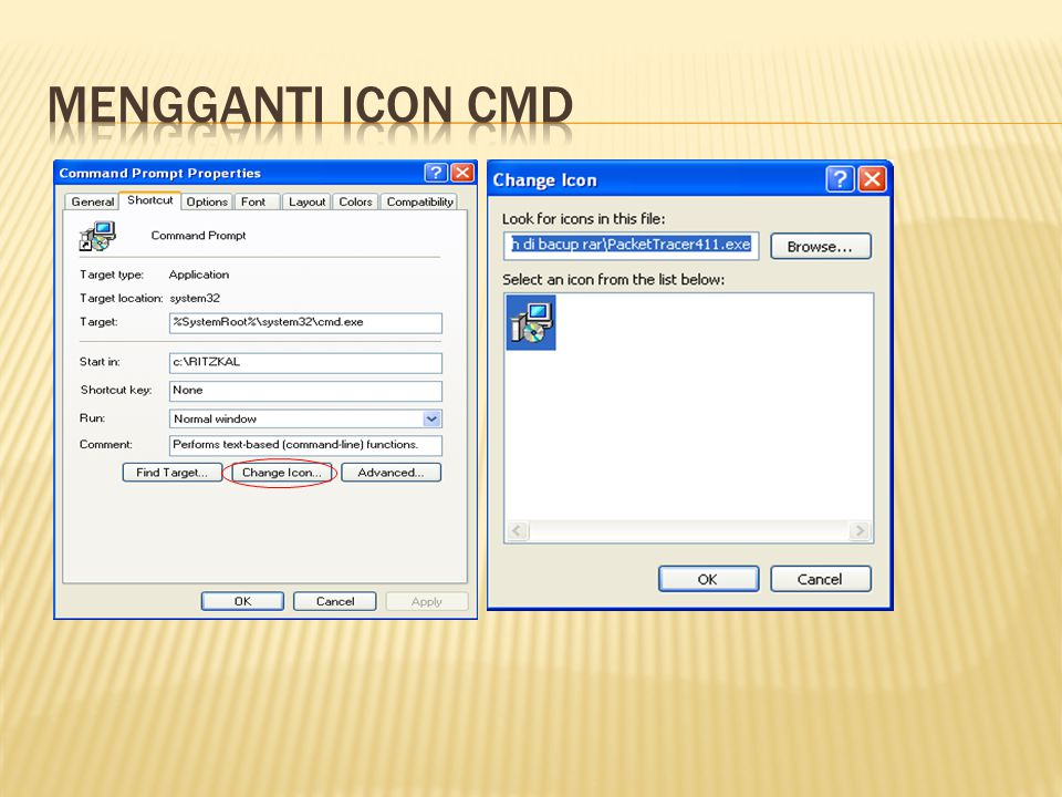 Mengganti icon cmd