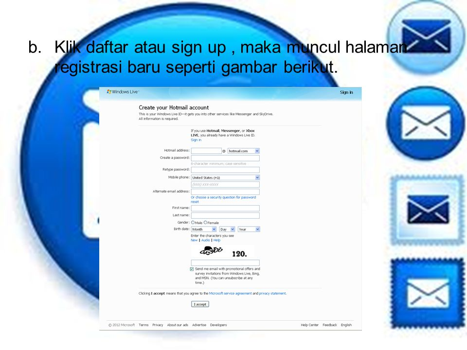 Klik daftar atau sign up , maka muncul halaman registrasi baru seperti gambar berikut.