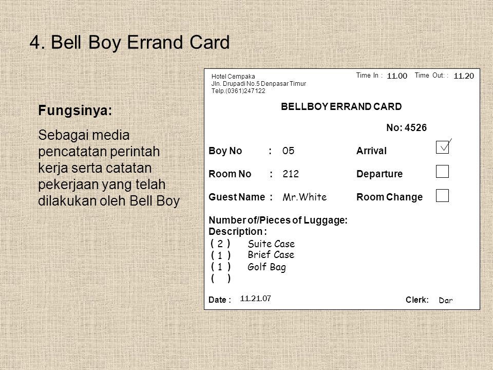 4. Bell Boy Errand Card Fungsinya:
