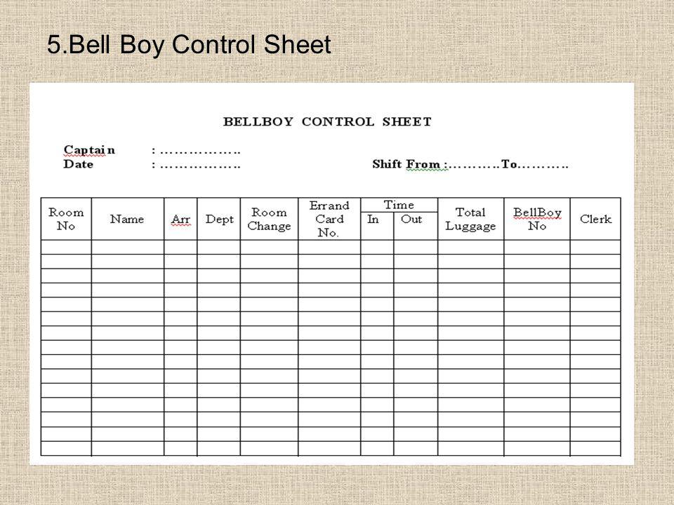 5.Bell Boy Control Sheet