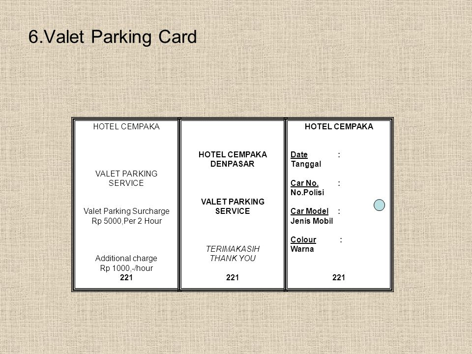 Valet Parking Surcharge