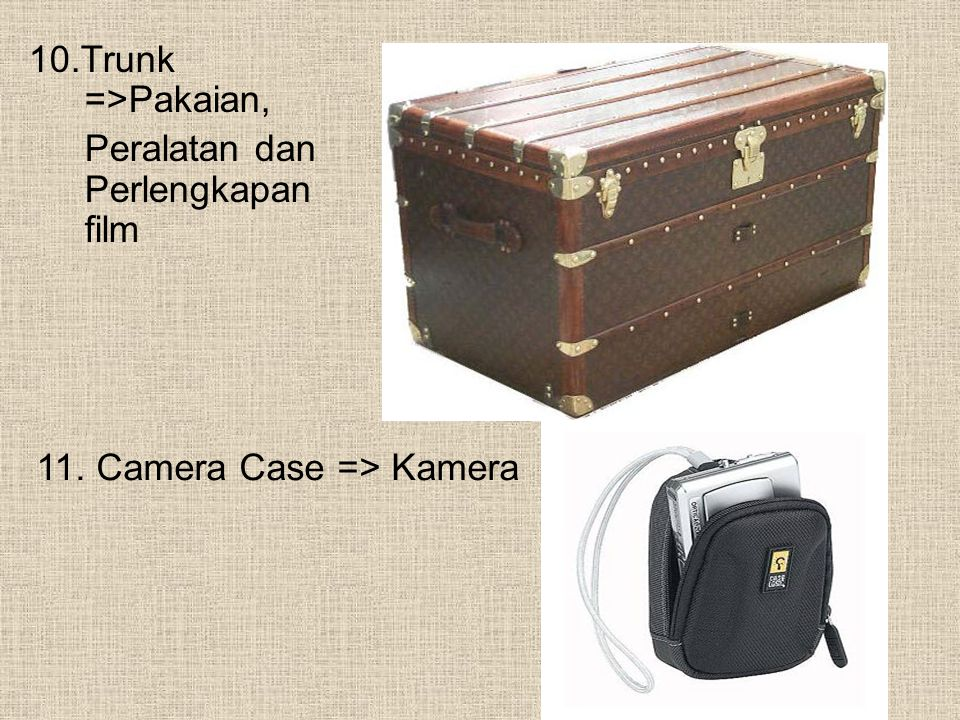 10.Trunk =>Pakaian, Peralatan dan Perlengkapan film 11. Camera Case => Kamera