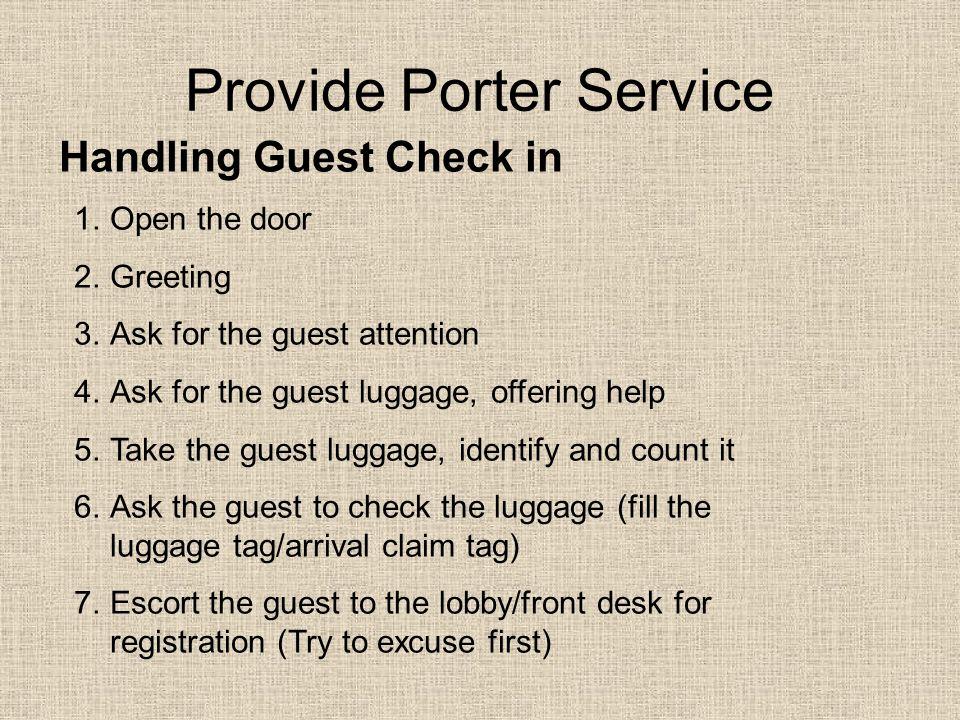 Provide Porter Service