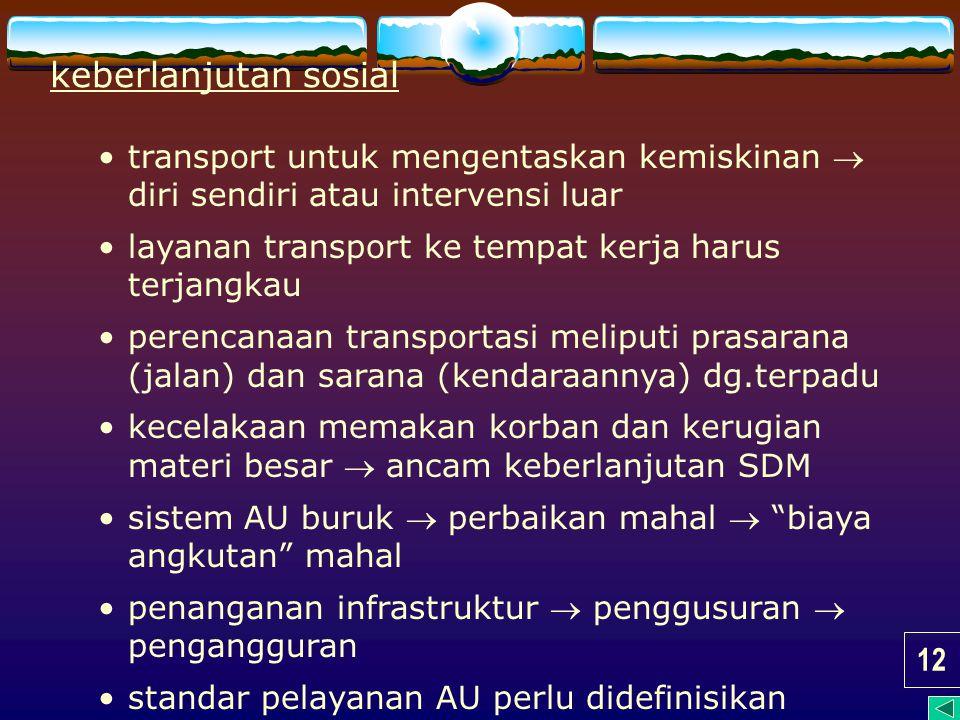 keberlanjutan sosial transport untuk mengentaskan kemiskinan  diri sendiri atau intervensi luar. layanan transport ke tempat kerja harus terjangkau.