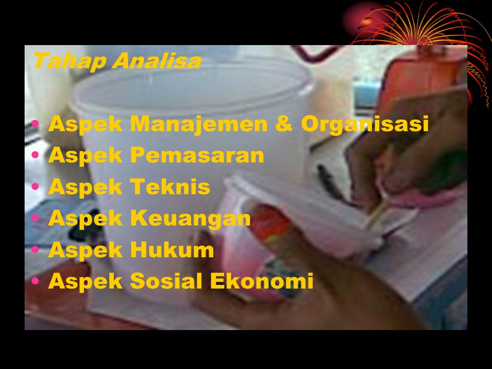 Tahap Analisa Aspek Manajemen & Organisasi. Aspek Pemasaran. Aspek Teknis. Aspek Keuangan. Aspek Hukum.