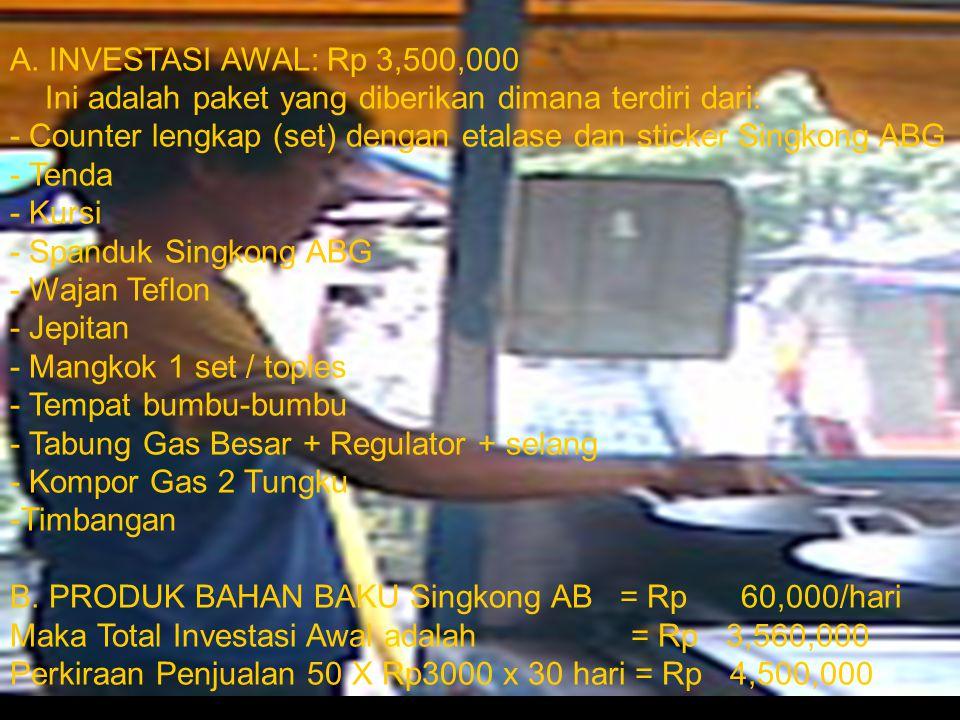 A. INVESTASI AWAL: Rp 3,500,000 Ini adalah paket yang diberikan dimana terdiri dari: - Counter lengkap (set) dengan etalase dan sticker Singkong ABG - Tenda - Kursi - Spanduk Singkong ABG - Wajan Teflon - Jepitan - Mangkok 1 set / toples - Tempat bumbu-bumbu - Tabung Gas Besar + Regulator + selang - Kompor Gas 2 Tungku
