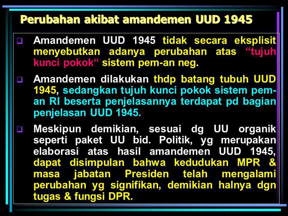 Perubahan akibat amandemen UUD 1945