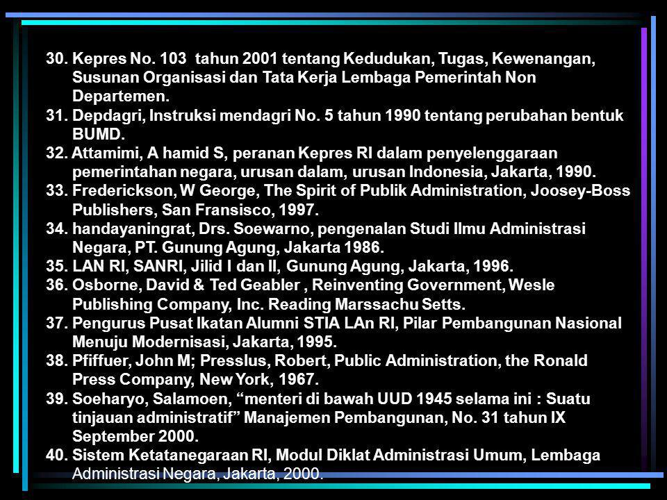 30. Kepres No. 103 tahun 2001 tentang Kedudukan, Tugas, Kewenangan, Susunan Organisasi dan Tata Kerja Lembaga Pemerintah Non Departemen.