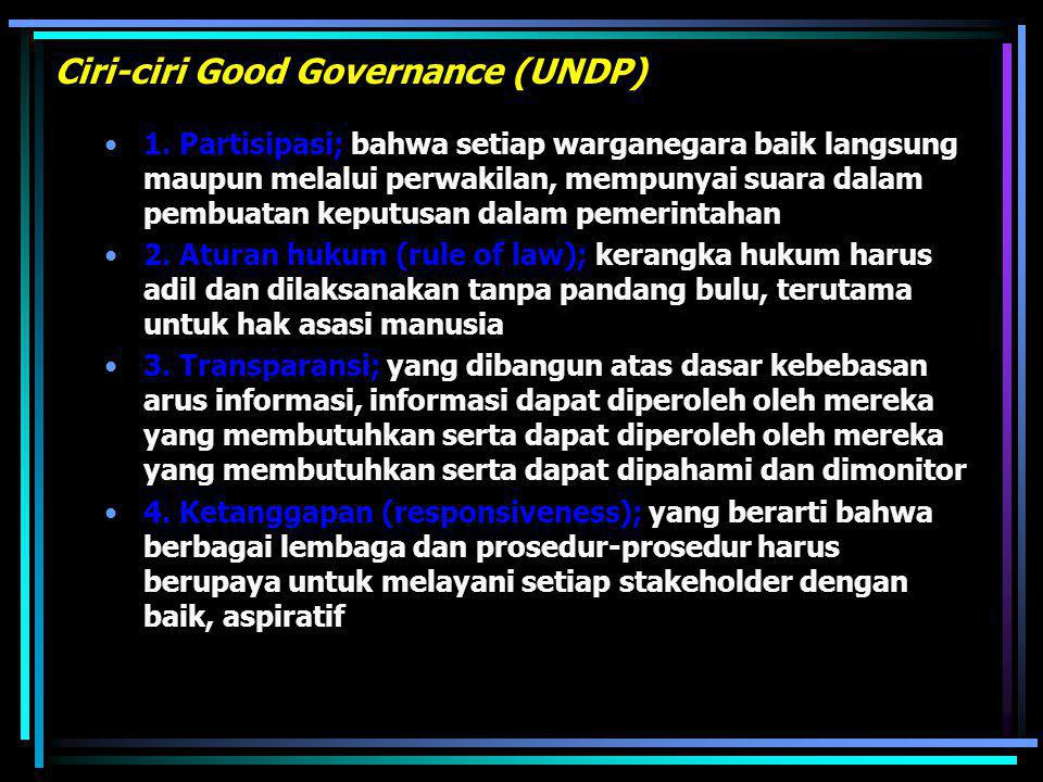 Ciri-ciri Good Governance (UNDP)