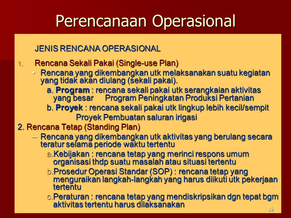 Perencanaan Operasional