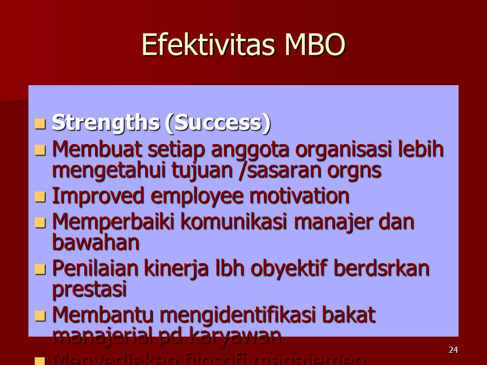 Efektivitas MBO Strengths (Success)