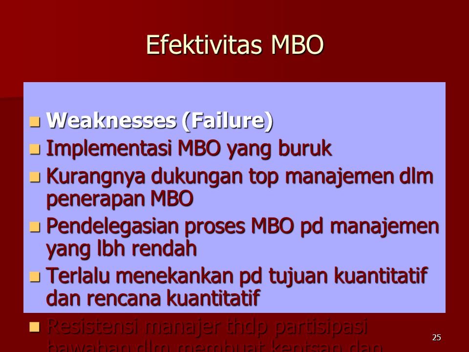 Efektivitas MBO Weaknesses (Failure) Implementasi MBO yang buruk
