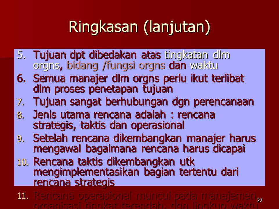 Ringkasan (lanjutan) 5. Tujuan dpt dibedakan atas tingkatan dlm orgns, bidang /fungsi orgns dan waktu.