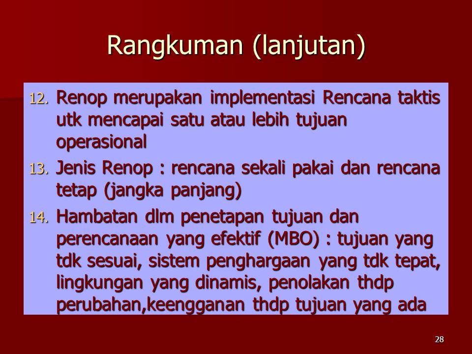 Rangkuman (lanjutan) Renop merupakan implementasi Rencana taktis utk mencapai satu atau lebih tujuan operasional.