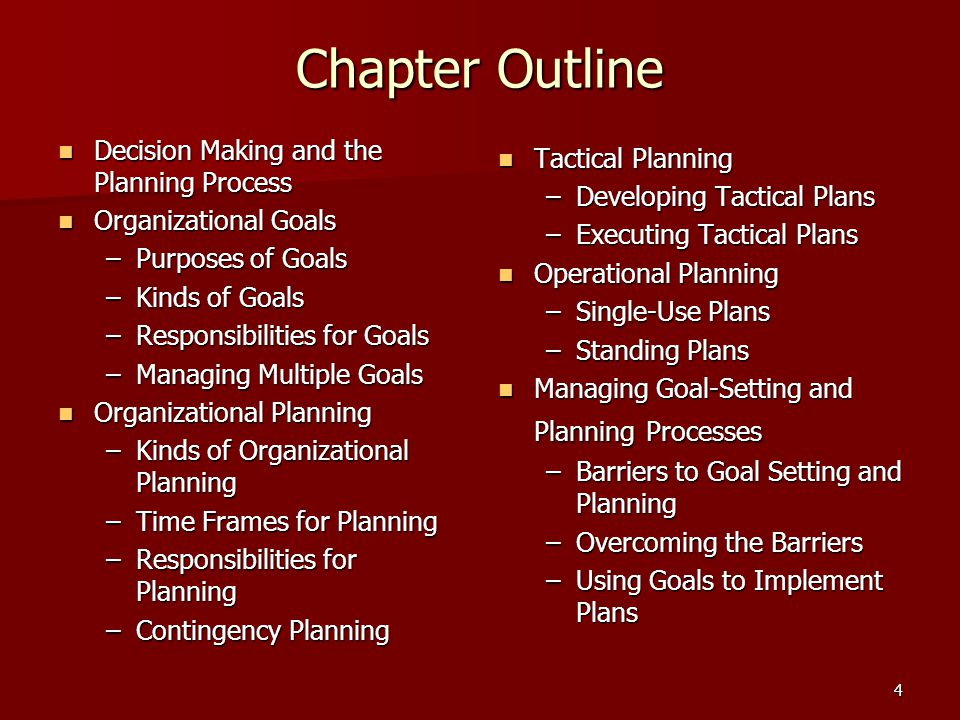 Chapter Outline Decision Making and the Planning Process