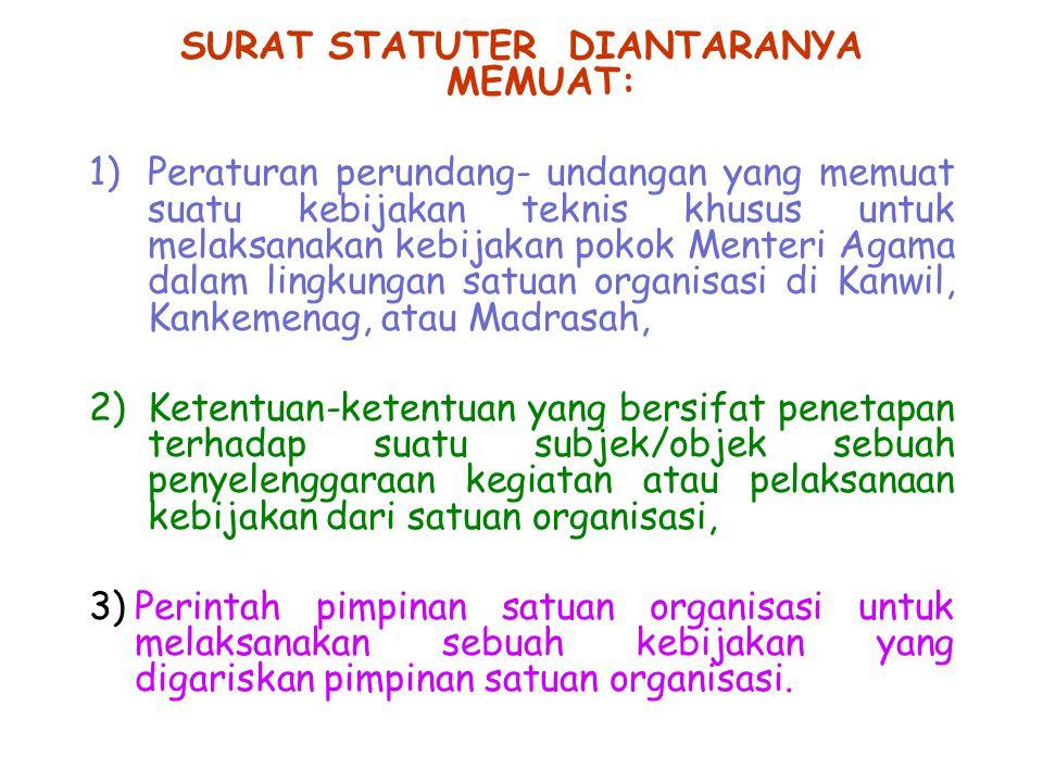 SURAT STATUTER DIANTARANYA MEMUAT: