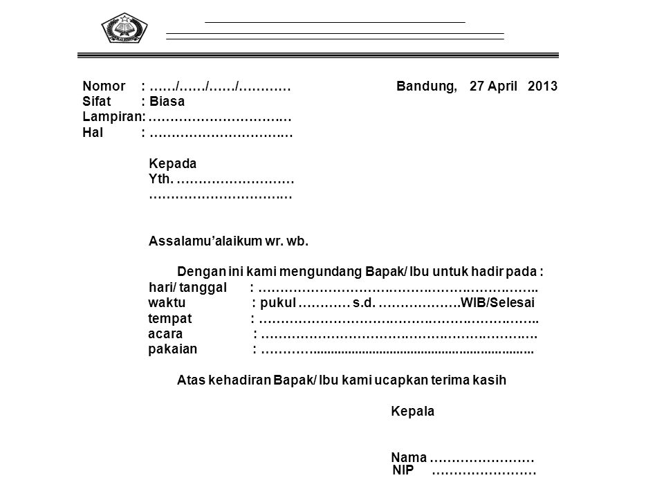 Nomor : ……/……/……/………… Bandung, 27 April 2013