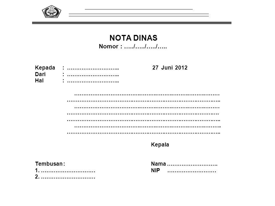 Nomor : …../…../…../….. Kepada : ……………………….. 27 Juni 2012