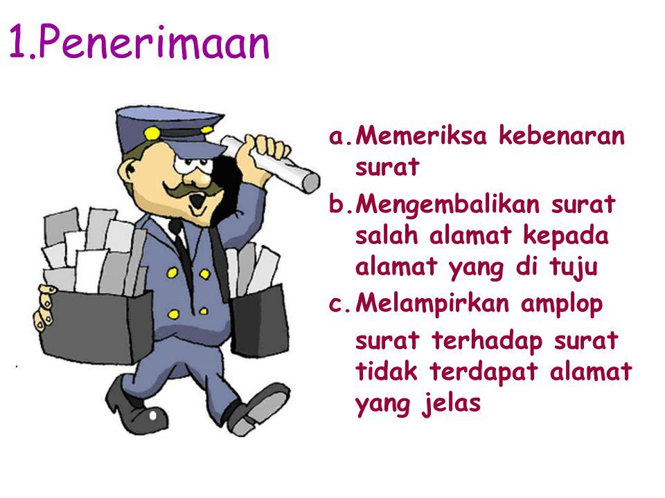 1.Penerimaan Memeriksa kebenaran surat
