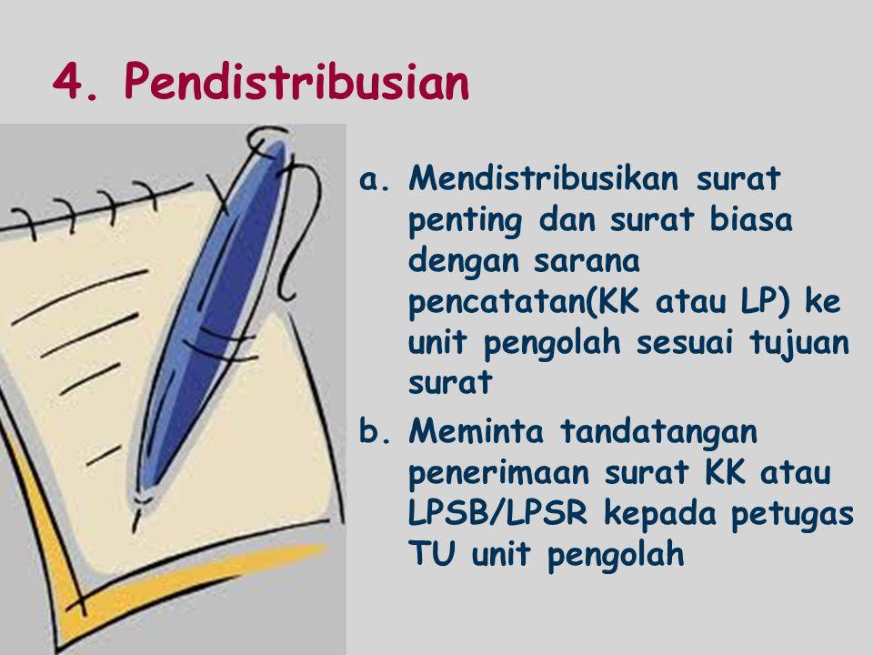 4. Pendistribusian Mendistribusikan surat penting dan surat biasa dengan sarana pencatatan(KK atau LP) ke unit pengolah sesuai tujuan surat.