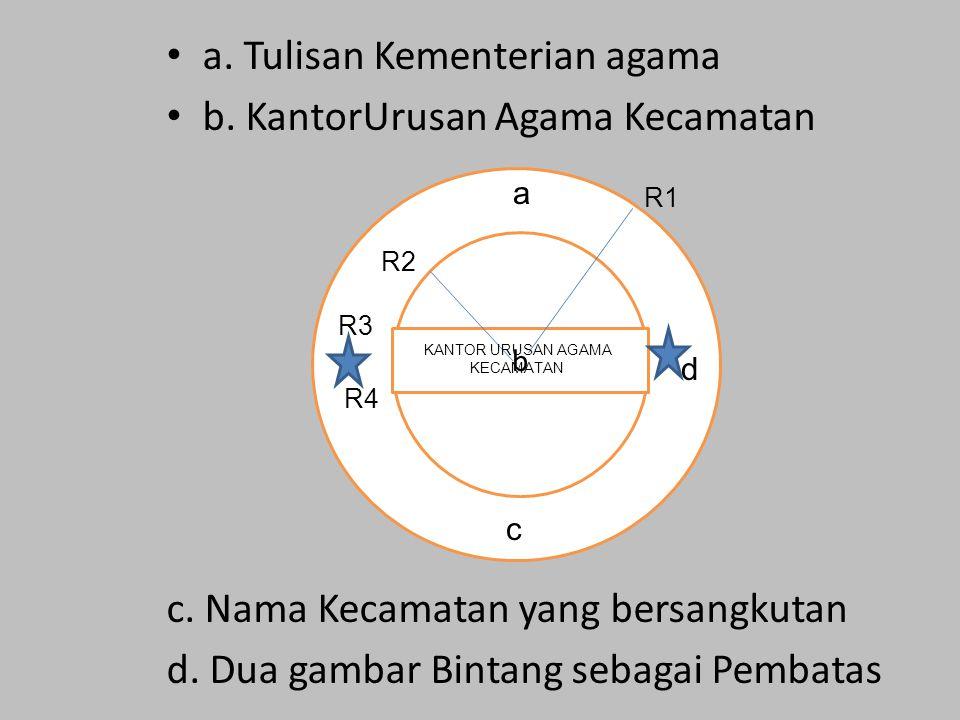 a. Tulisan Kementerian agama b. KantorUrusan Agama Kecamatan