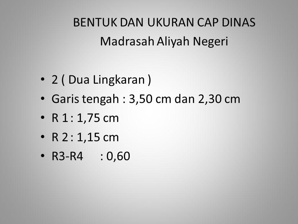 BENTUK DAN UKURAN CAP DINAS Madrasah Aliyah Negeri 2 ( Dua Lingkaran )