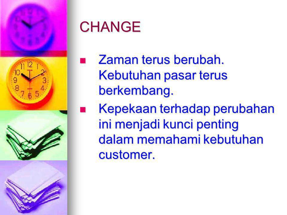 CHANGE Zaman terus berubah. Kebutuhan pasar terus berkembang.