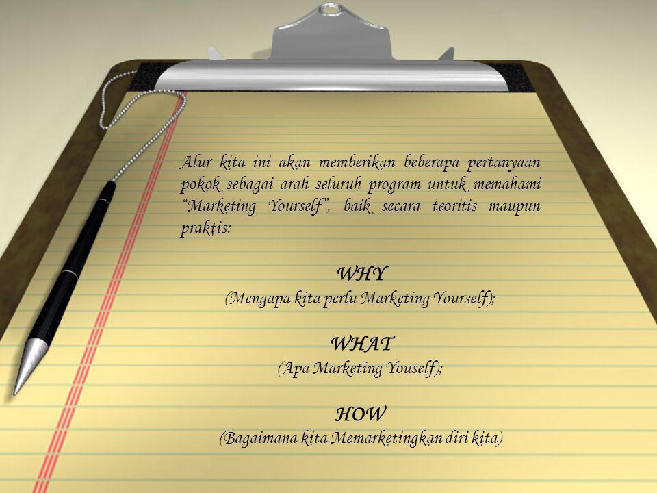 Alur kita ini akan memberikan beberapa pertanyaan pokok sebagai arah seluruh program untuk memahami Marketing Yourself , baik secara teoritis maupun praktis: